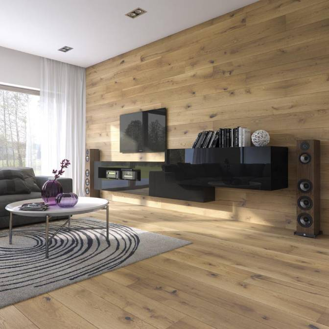 Honey Oak Vista Parquet Piso de Madera en Pared Arquitectura Interiores