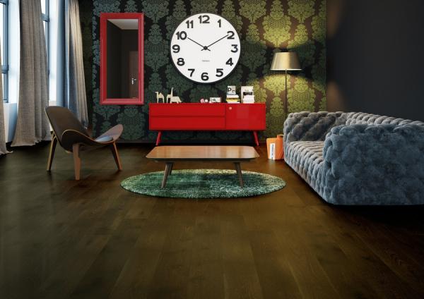 Piso de Madera VistaParque color Chocolate Oak Cafe Obscuro Reloj Pared