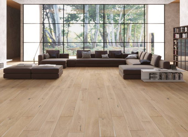 Piso de Madera VistaParquet Roble Europeo Duela de Ingeniería Modelo Light Oak